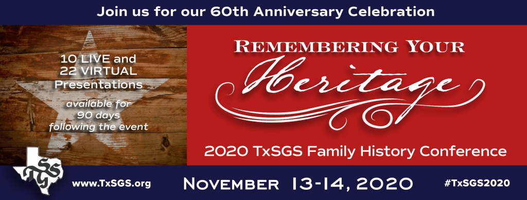 TxSGS 2020 Family History Conference